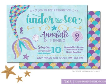 Mermaid Birthday Invitation • Mermaid Invite • Under The Sea Party Mermaid Tail • Teal Purple Gold • Pool Beach Party Invitation Printable