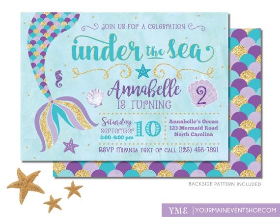 Mermaid Birthday Invitation • Mermaid Invite • Under The Sea Party Mermaid Tail • Teal Purple Gold • Pool Beach Party Invitation Printable