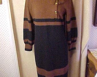 Vintage black & Brown Knit dress, Med, Lermon Dean    #3336