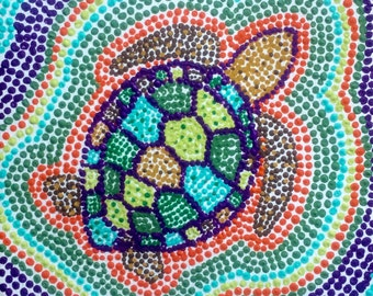 Dot Pointillism, 6x6, Whimsical, turtle, watercolor paper, unframed, original, pointillist, pointillist artwork, dot art