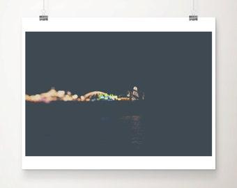 brighton pier photograph night photograph carnival photograph lights photograph nursery wall art abstract print black home decor