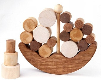 Wooden Balance Toy, Boat Educational Toy for Toddlers , Natural Wooden Balancer Game , Educational set , Handmade Kids Gift