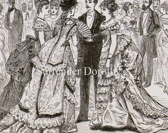 Formal Dress Party Women & Men Victorian Society Fashion 1879 Original Antique Engraving To Frame Black and White