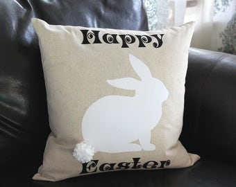 Happy Easter Pillow COVER, Bunny Easter Pillow, Sofa Pillow