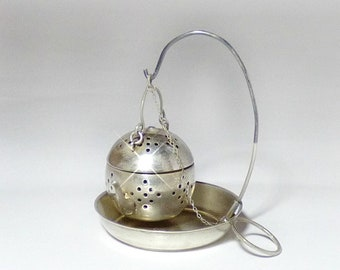 Vintage Sterling Silver Tea Kettle Shaped Tea Infuser Strainer with Holder by Paye and Baker ( P & B)