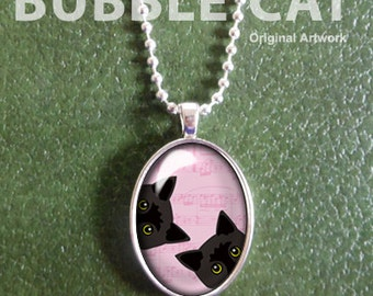 Two Black Cats Necklace, Pink Background, Peeking Cat Pendant with Chain