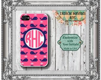 Preppy Whale iPhone Case, Monogram iPhone Case, Personalized iPhone Case, iPhone 4, 4s, iPhone 5, 5s, 5c,  iPhone 6, 6s, 6 Plus, SE