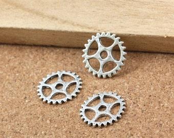 10Pcs - Steampunk Gear Charm 15mm Antique Silver Clockwork Cog Wheel Gearwheel Mechanical Watch Gear Clock Parts Decoration