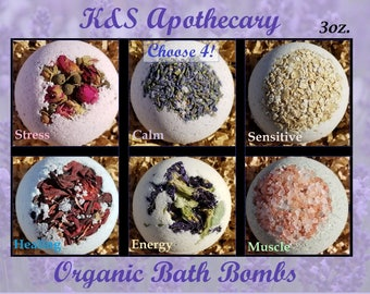 Organic Bath Bombs Gift Set! (Four) 3oz. All Natural Bath Bomb Set, Organic Gift for her, 7 Dollar US Shipping, Choose your four!