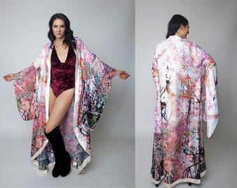 Japanese Style Kimono with Cherry Blossom Print, Robe, Costume, Festival Clothing, Burning Man, Bridal, Wedding