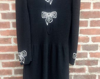 Vintage 1970s Adolfo New York Beaded Bows Dress - Black knit w beaded and velvet bows - Vintage 1970s dress - Vintage Knitwear - Size M