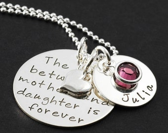 Mother Daughter Jewelry, The love between a mother and daughter is forever - custom necklace with name charm