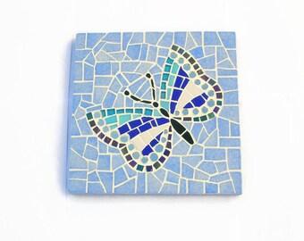 """Flat blue mosaic trivet """"Butterfly"""""""