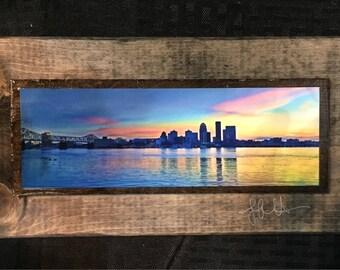 Louisville Skyline at Sunset Wooden Art