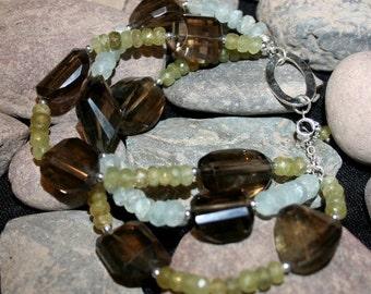 Elements Smoky Quartz, Grossular Garnet, Aquamarine and sterling silver bracelet