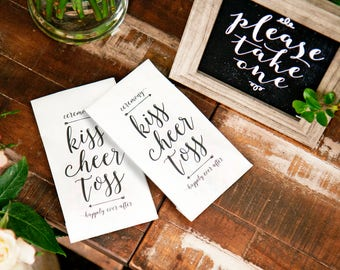 Wedding Petal Toss Bag - Kiss Cheer Toss - Aisle Exit - Confetti, Leaf  - Mock Program - Tall white paper bags  - 20 White Bags included