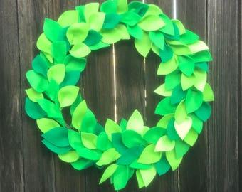 "Wreath, spring greens- 18"""