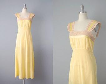 30s Slip  // 1930's Yellow Slip Dress w/ Ecru Lace Panels // S-M