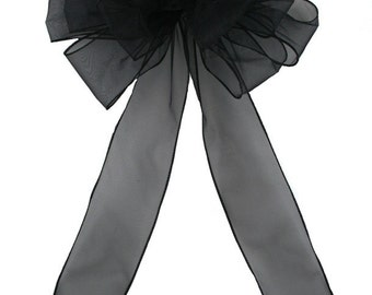 Pew Bows Black Sheer - Set of 4 Black Bows - Reception Decoration