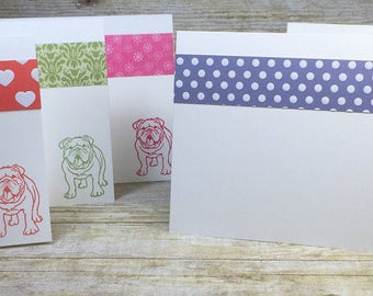 Set of 6 English Bulldog Hand Stamped Cards