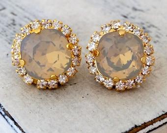 Grey opal Swarovski crystal stud earrings, Bridal earrings, Bridesmaid gift, Crystal earrings, Gray and clear rhinestone stud earrings