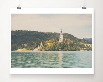 Lake Bled photograph Slovenia photograph church photography mountains photograph wanderlust art travel photography church print
