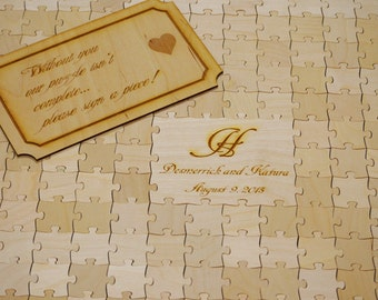 Wedding Puzzle Guest Book Natural Wood Guest Book for Rustic or Alternative Wedding Decor 200 Pieces  (P3D200)