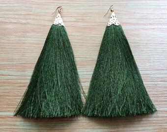 Green Tassel Earrings, Green Earrings, Statement Earrings, Long Tassel Earrings, Green Earrings, Statement Jewelry, Silk Tassel Earrings
