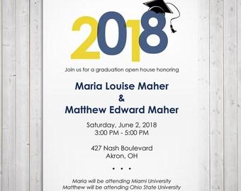 2018 graduation party invitation, graduation cap, printable graduation open house invitation, printable invitation