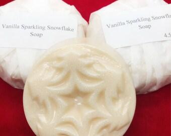 Vanilla sparkling snowflake soap, stocking stuffer, soap, snowflake soap, christmas soap, ivory, christmas, snowflake, glycerin, winter soap