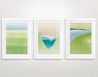 Abstract Landscape Art, Nature Art Print, Landscape Print, Large Abstract Art Print, Green Blue Art, Fine Art Collection