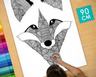 Poster / Poster deco coloring (90cm) Fox - coloring for adults