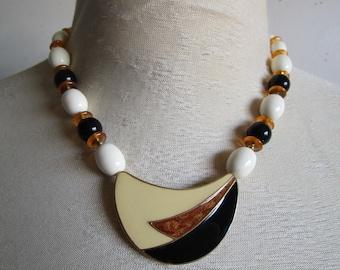 Vintage 1980s Necklace TRIFARI Black Gold Enamel Abstract Pendant 80s Evening Necklace