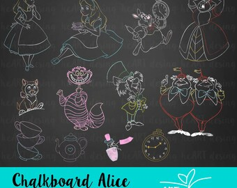 Chalkboard Alice Clipart / Digital Clip Art for Commercial and Personal Use / INSTANT DOWNLOAD