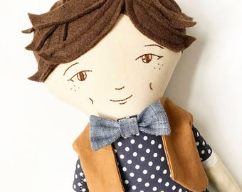 Heirloom Doll : brown hair boy doll with vest and bow tie