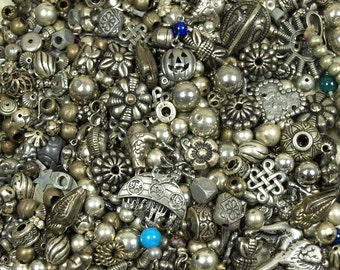 Grab Bag of Silver Colored Metal Beads, Pendants, Links and Findings. MIX4045