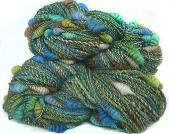 Art Yarn handspun handdyed BFL and Corriedale wool with coils