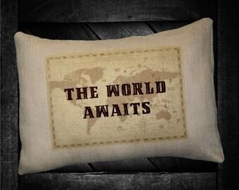 """The Worls Awaits  12""""x16"""" Pillow Set"""