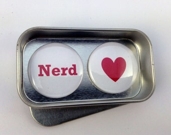 Fun Valentine Day Birthday Nerd Magnet Gift Set Say It With Magnets Perfect Small Gift Handmade Complete with Gift Tin