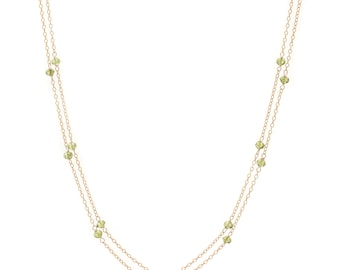 Peridot Chain Necklace - Extra Long 46in. Necklace - 14k Gold Filled - Small Faceted Green Peridot Gemstones - Gold Chain