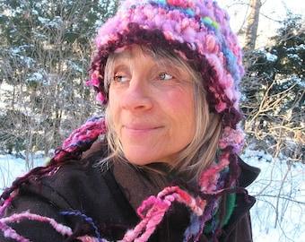 hand knit chunky hat puffy soft art yarn enchanted forest hat - warm glow wandering hat