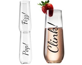 Personalized Champagne Flutes - Pop Fizz Clink Plastic Champagne - Plastic Flute -Hen Party Champagne Flute-Tossware Champagne Flute-TGFS027