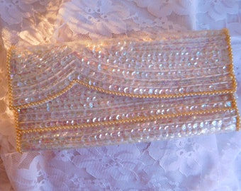 Vintage Silvercraft Sequined, Beaded and Pearl Evening Bag Off White