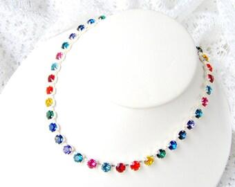 Rainbow rhinestone necklace / Swarovski crystal / Statement necklace / Bridal / Tennis necklace / pride / gift for her / rainbow crystal