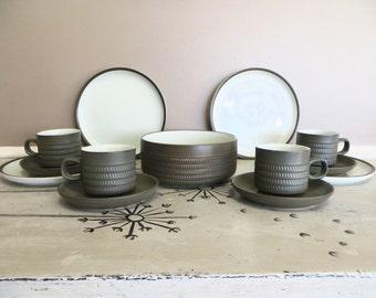 Vintage Denby Langley Camelot Snack Set Cup and Saucer Plate and Bowl Serving Bowl Sage Olive Green Mint Green Chevron Glazed Stoneware