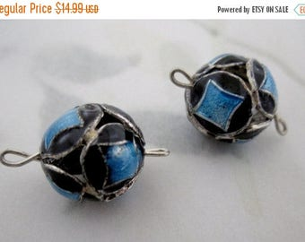 ON SALE pair of UNMARKED sterling 925 enameled enamel blue harlequin connector 12mm bead charms - s17