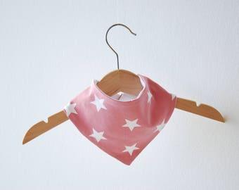 Scarf - pink white stars