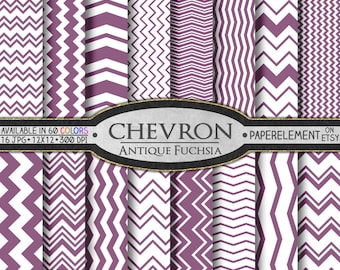 Antique Fuchsia Digital Chevron Paper Pack - Instant Download - Printable Paper with Chevron Pattern for Digital Scrapbooking