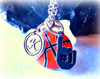 Basketball Necklace,Personalized wax Seal Initial,Were #1 Charm,Basketball Fan,Basketball Lover,Sports Monogram Necklace,March Madness