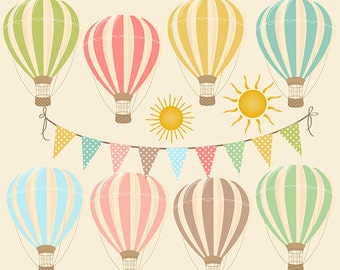 """Hot Air Balloons Clipart Digital: """"HOT AIR BALLOONS"""" with bunting banner, sun clipart, for Birthday Party, Invites, Cards"""